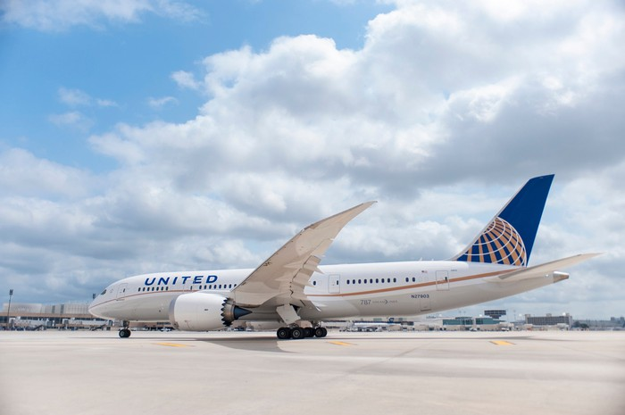 787 Dreamliner with United markings on the tarmac on a partly cloudy day.
