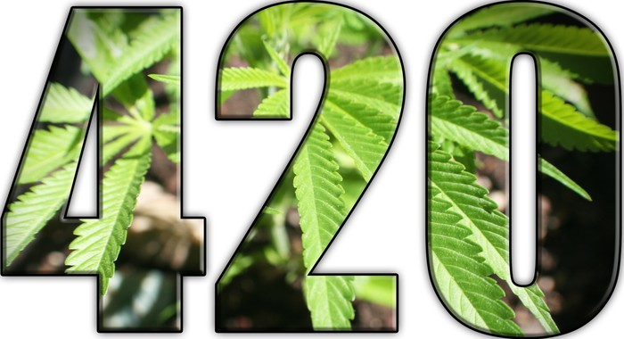 Transparent numbers 420 reveal a marijuana leaf in the background.