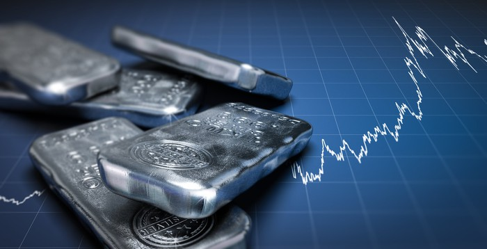 Silver bars lying atop a digital stock chart.