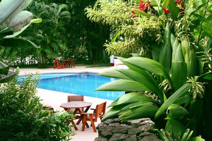 Backyard pool in tropical setting.