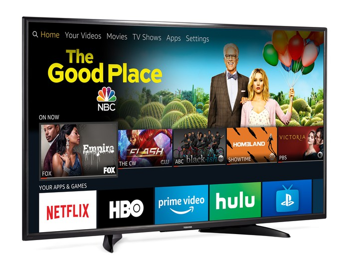 An Amazon Fire TV Edition smart TV displaying a menu of shows and services