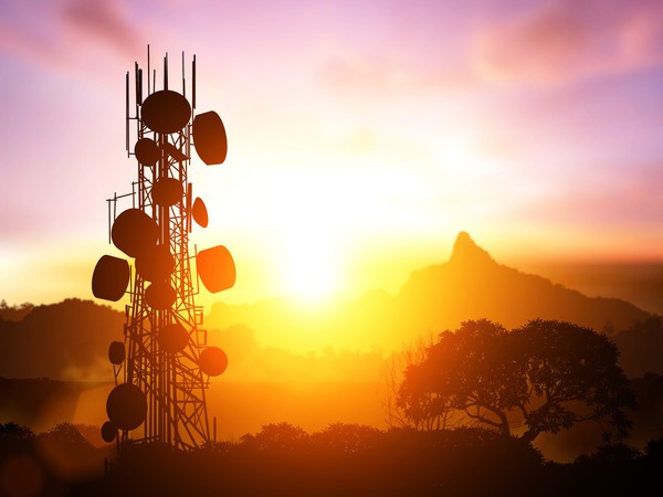 Cell tower in sunset