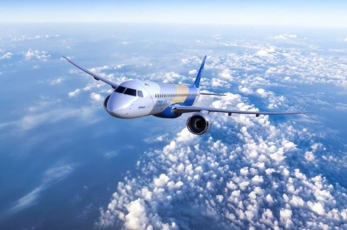 An Embraer E195-E2 test plane in flight.