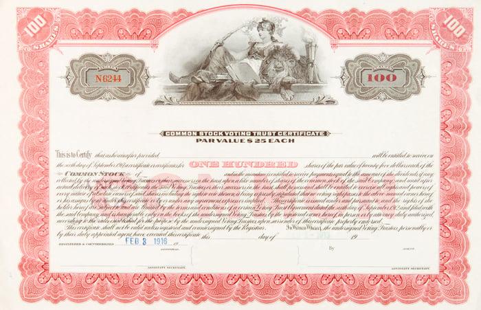 Sample common stock certificate