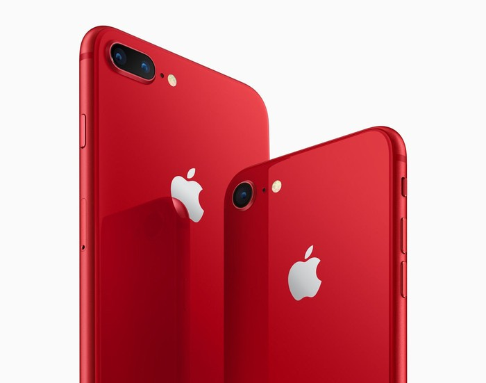 An Apple iPhone 8 Plus (left) and iPhone 8 (right) in red.