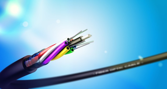 A fiber optic cable.