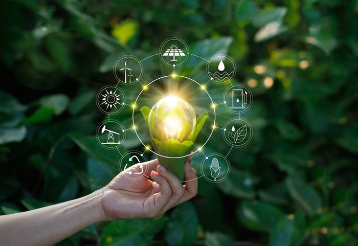 A person holding a flower emitting light and icons of renewable energy technologies.