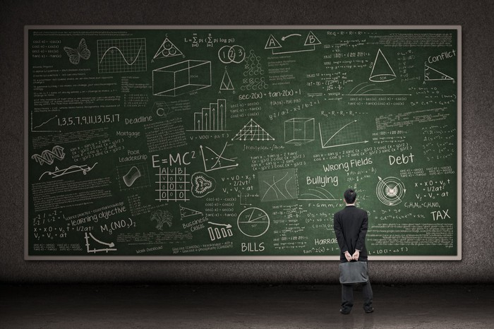 Person looking at a giant chalkboard full of random charts and graphs.