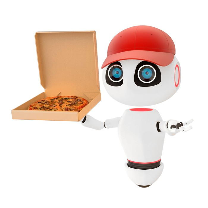An illustration of a robot holding a pizza