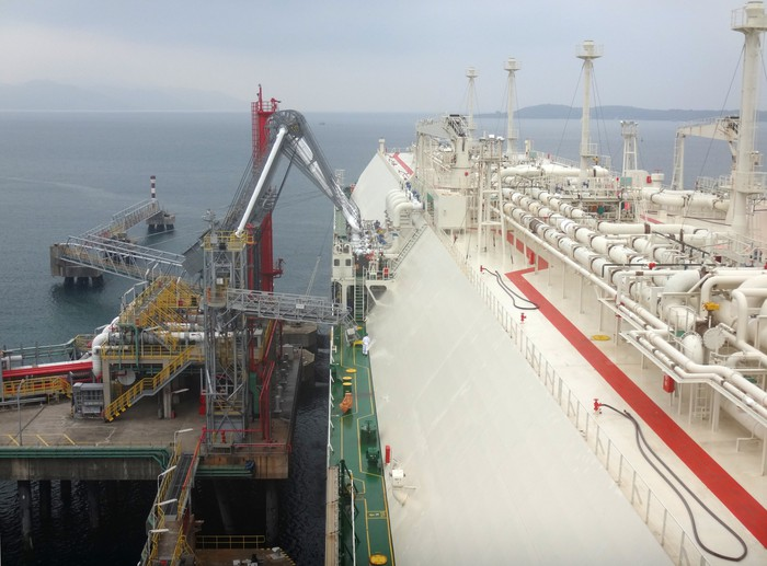 Transport ship taking on LNG for offshore transport.