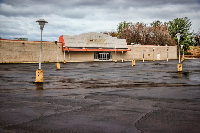 Abandoned storefront with an empty parking lot