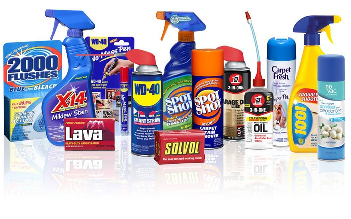 A collection of products from WD-40 Company, including its various cleaning products.