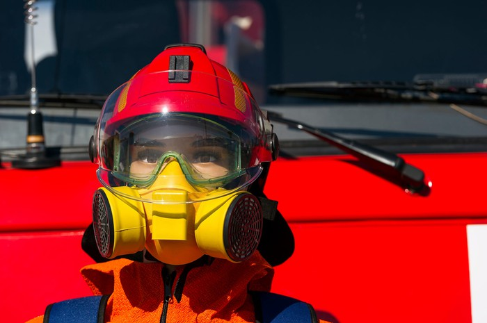 Firefighter in respirator.
