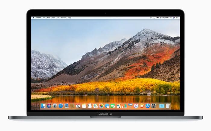 An Apple MacBook.
