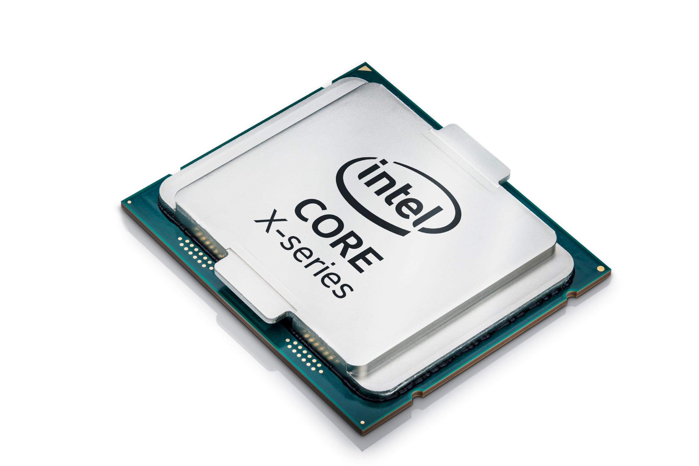 An Intel Core X-series chip, laid out on a plain white backdrop.