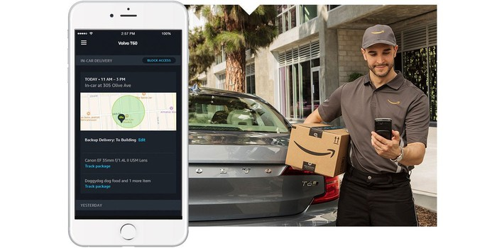 An ad for Amazon Key car delivery service showing a cell phone and a delivery guy with a package waiting by a car.
