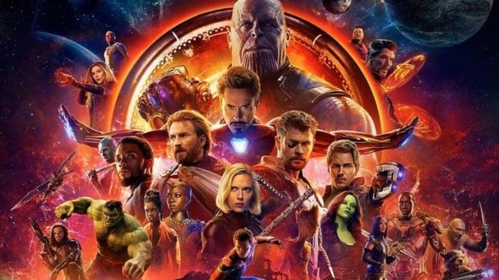 Avengers: Infinity War movie trailer artwork.