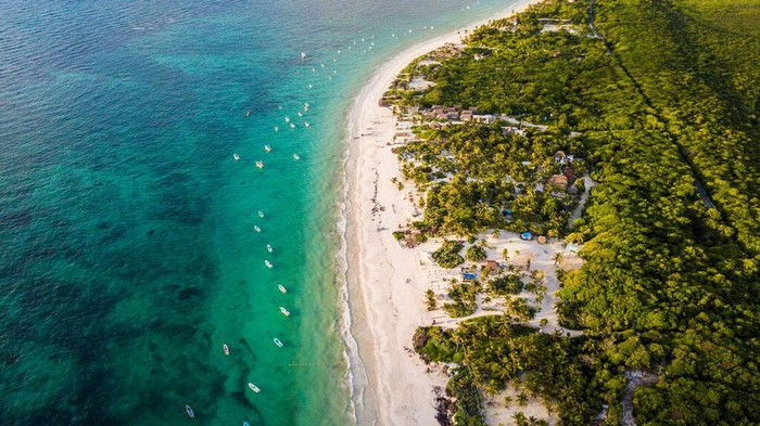 An aerial shot of the beach in Tulum, Mexico