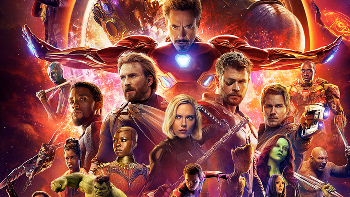 Marvel's Avengers: Infinity War movie poster featuring a host of Marvel movie characters.