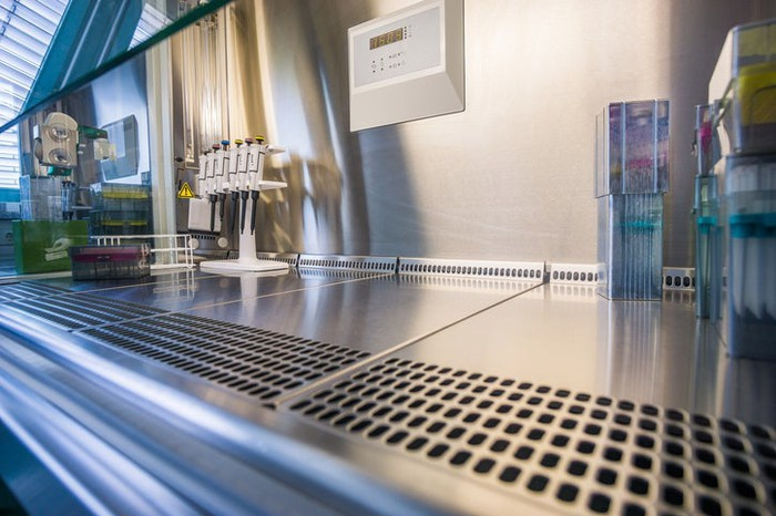 A hood bench in a biotech lab.