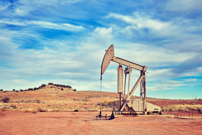 An old oil pump in the desert.