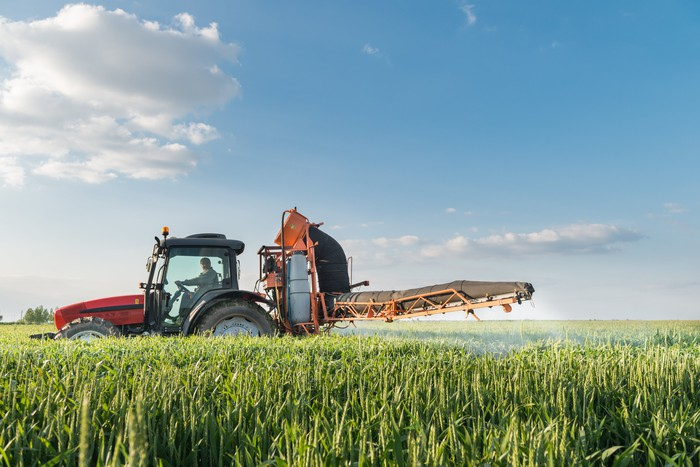 A tractor at work in a field