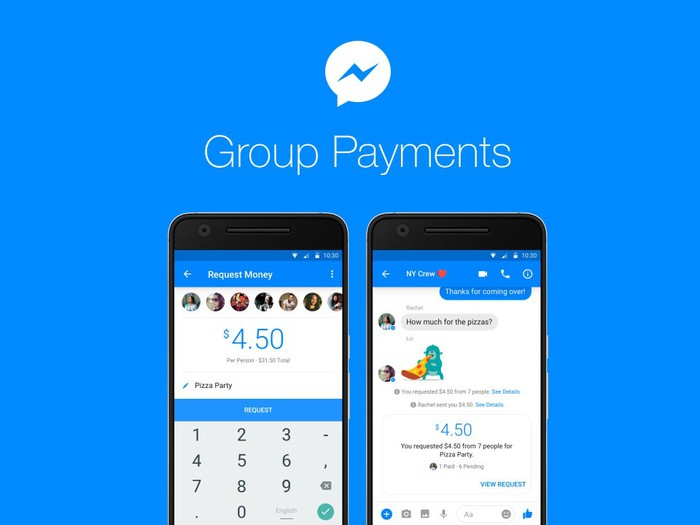 Two smartphones demonstrating group payments within Messenger