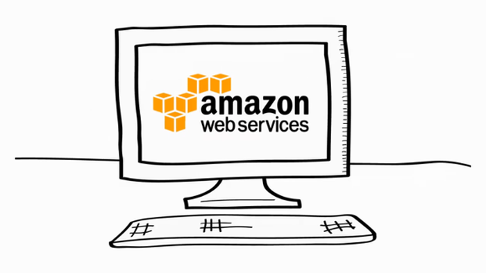 Cartoon-style desktop computer showing the AWS logo on its screen.