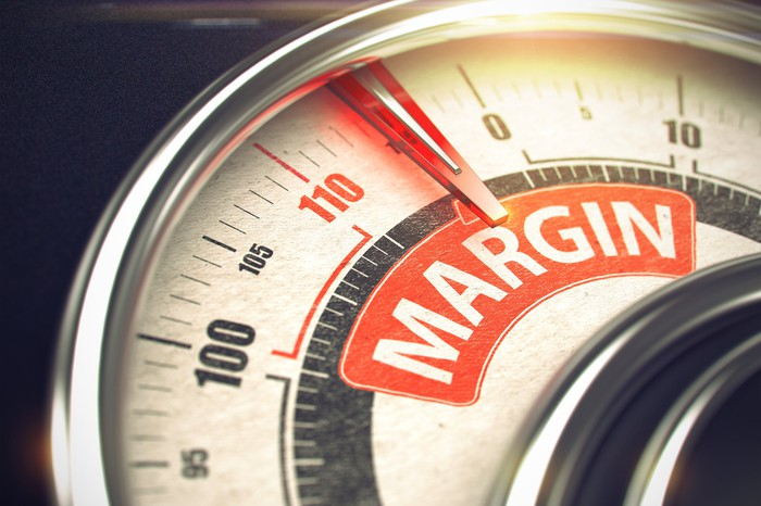 "Meter with red needle pointing to the word ""margin."""