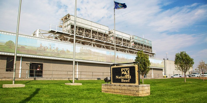 Industrial facility with National Beef sign outside.