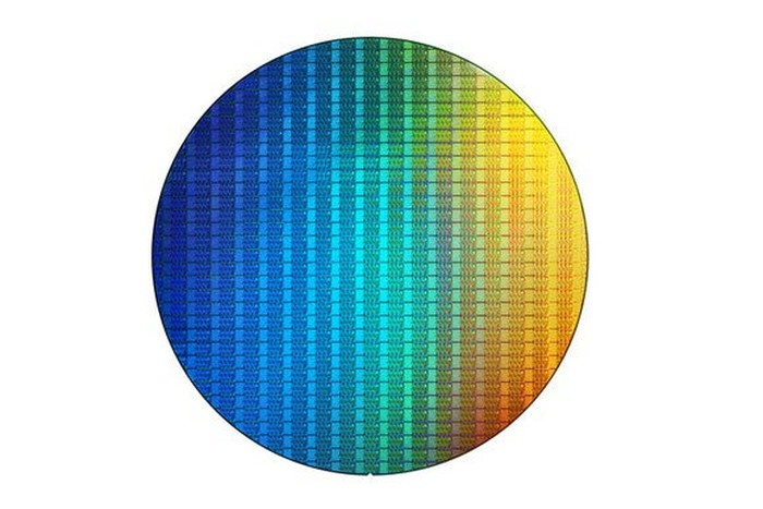 This image is of a wafer of Intel chips