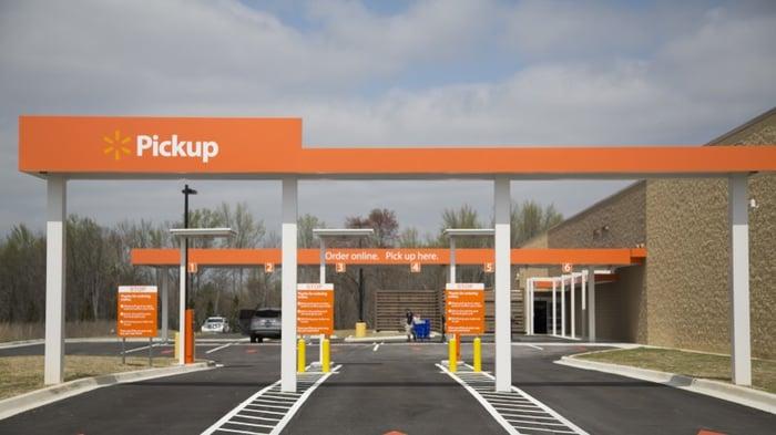 A Walmart grocery pickup station.