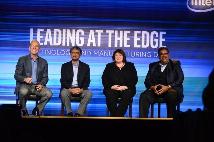 Intel executives at a panel discussing the company's manufacturing technology.
