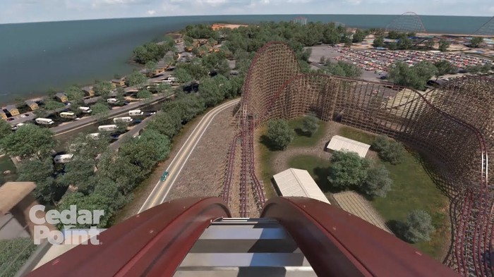 View from front of Steel Vengeance roller coaster