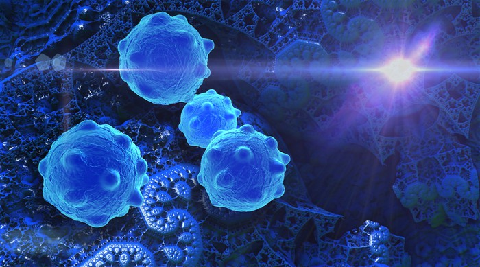 Cancer cells with light shining in background