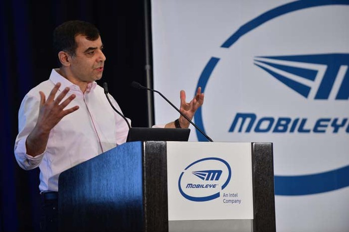 Professor Amnon Shashua, CEO of Mobileye, presenting at the Consumer Electronics show.
