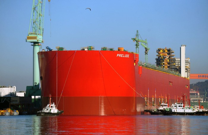Shell's red-orange Prelude floating LNG facility