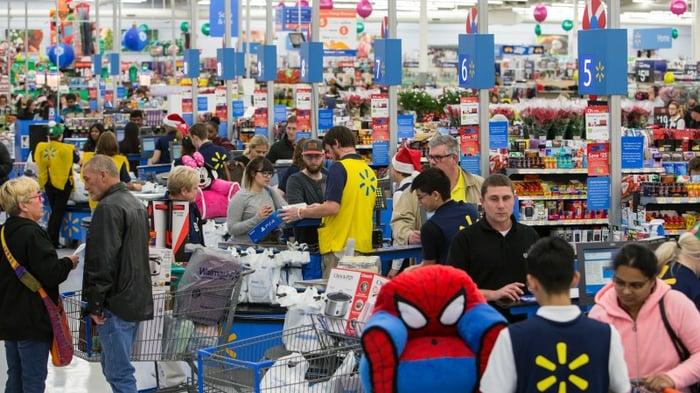 A crowded WalMart