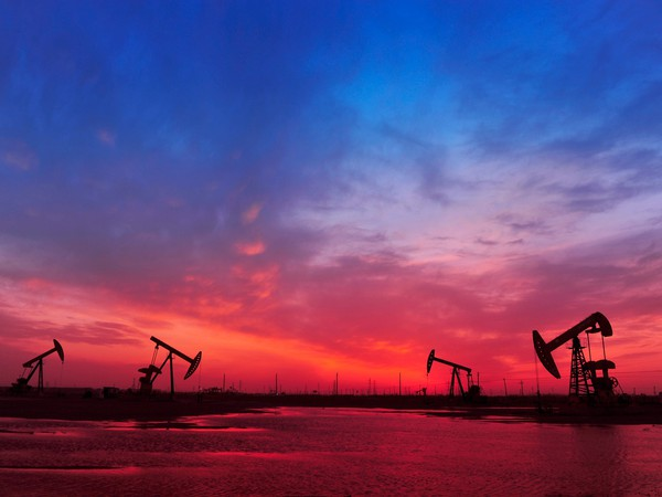 Getty Oil Pumps at Sunset Colorful Sky