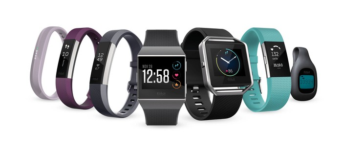Fitbit's family of seven different fitness trackers.