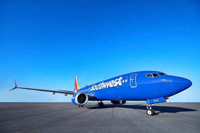 A Boeing 737 MAX 8 painted in the Southwest Airlines livery