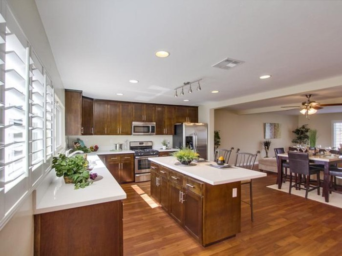 A kitchen with product from Lumber Liquidators