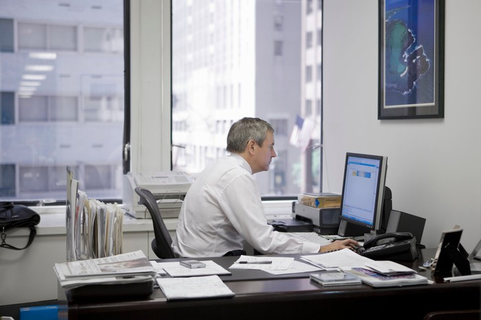 Man working at desk in an office