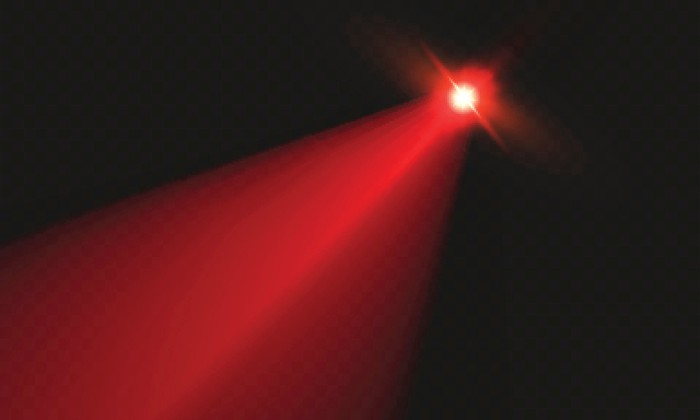 Light from a red laser