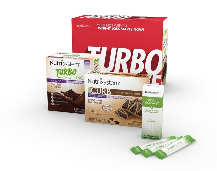 Several different types of Nutrisystem Turbo products lined up.