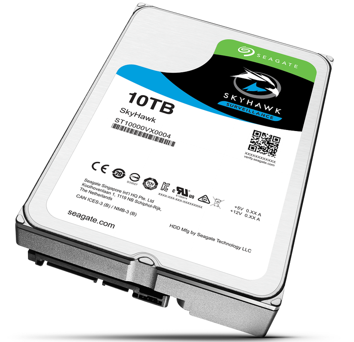 Hard disk drive with 10 terabyte capacity, with Skyhawk logo on it.