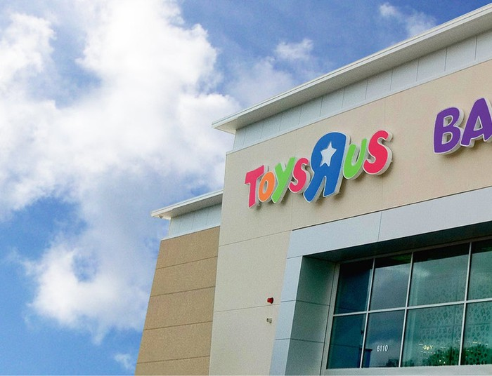 Partial view of the outside of a Toys R Us store