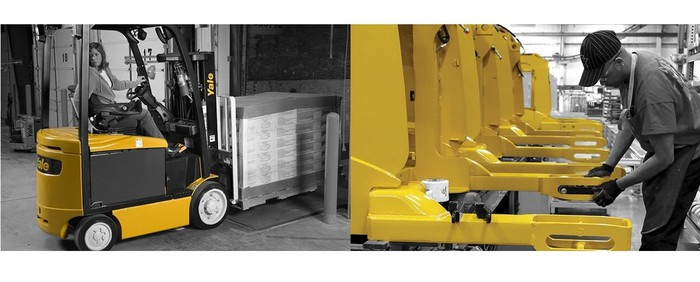 Composite of person driving lift truck and person working on a line of lift mechanisms.