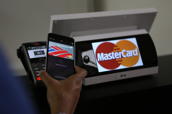 Mastercard card reader with a mobile payment unit, and a hand holding a smartphone to make a payment.