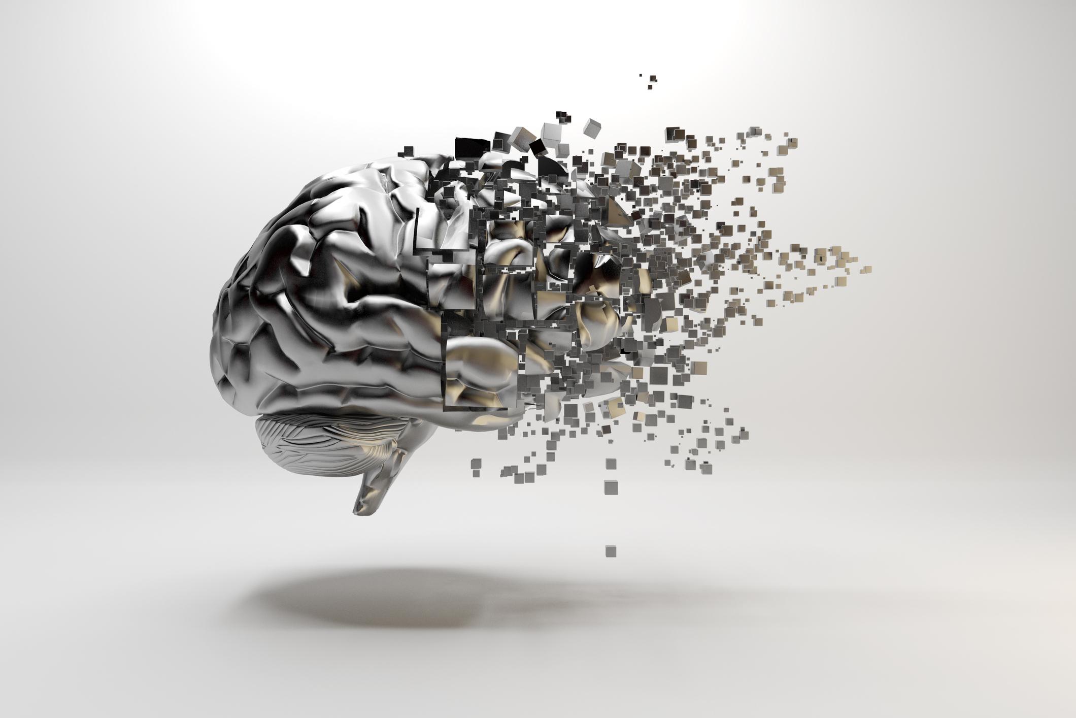 A brain morphing into digital blocks